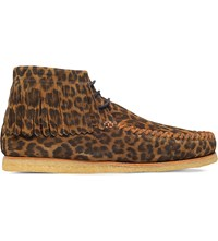 Saint Laurent Leopard Print Suede Moccasins Brown Oth