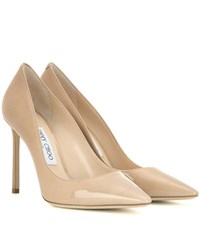 Jimmy Choo Romy 100 Patent Leather Pumps Beige