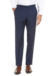 Incotex Men's 'Benson' Flat Front Solid Wool Trousers Blue