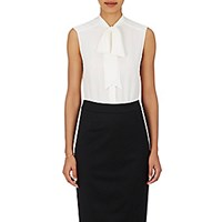 Barneys New York Women's Silk Charmeuse Tieneck Blouse White