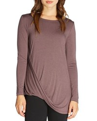 Bobeau Long Sleeve Twist Front Jersey Tee Taupe