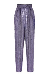 Monique Lhuillier Sequin High Waisted Cropped Trousers Purple