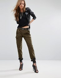 Religion Faux Suede Military Trousers Khaki Green