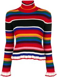 Msgm Ruffled Striped Rollneck Jumper Red
