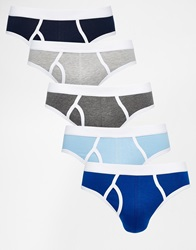 Asos 5 Pack Briefs With Contrast Trim Multiblues