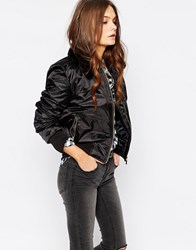 New Look Faux Fur Collar Bomber Jacket Black