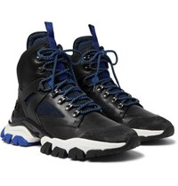 Moncler Tristan Suede Leather Mesh And Neoprene Hiking Boots Black