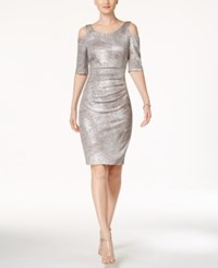 Connected Cold Shoulder Sheath Dress Silver Metallic