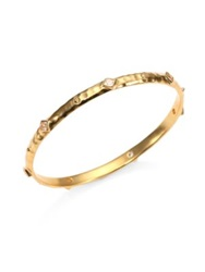 Mija White Sapphire Hammered Bangle Bracelet Gold