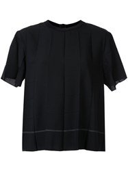 Kuho Pleated Design T Shirt Black