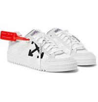 Off White 3.0 Polo Suede Trimmed Leather Sneakers White