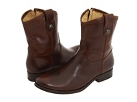 Frye Melissa Button Short Dark Brown Full Grain Leather Cowboy Boots
