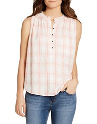 Jessica Simpson Anaya Sleeveless Plaid Cotton Top Porcelain