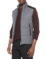Vince Quilted Vest With Leather Detail Gray