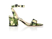 Gianvito Rossi Women's Floral Satin Ankle Strap Sandals Black Yellow Black Yellow