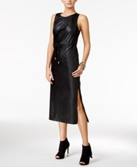 Guess Levin Faux Leather Midi Dress Jet Black
