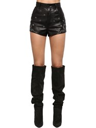 Saint Laurent Embroidered High Waist Leather Shorts Black