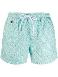 Kiton Printed Swim Shorts Green