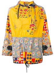 Herno Print Panel Hooded Jacket Yellow Orange