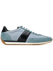 Tom Ford Lace Up Panelled Sneakers Bos Taurus Leather Rubber Polyamide Blue