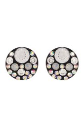Betsey Johnson Round Rhinestone Accented Stud Earrings Black