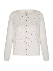 Yumi Metallic Cardigan With Embellishments Ivory