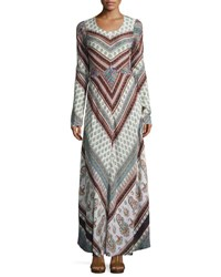 Raga Caravan Paisley Print Long Sleeve Maxi Dress Turquoise