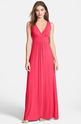 Loveappella Women's V Neck Jersey Maxi Dress Pink Polish