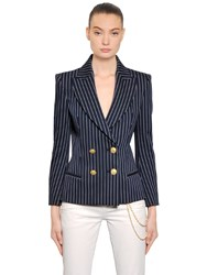 Balmain Double Breasted Stretch Cotton Jacket