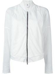 Lost And Found Rooms Sheer Sleeve Bomber Jacket White