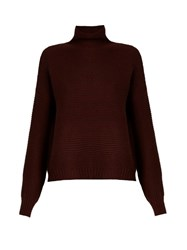Vince Wool And Cashmere Blend Roll Neck Sweater Burgundy