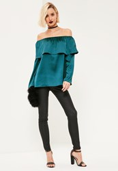 Missguided Blue Long Sleeve Satin Bardot Blouse