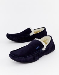 Boss Relax Suede Faux Shearling Lined Slippers In Navy