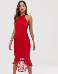 Ax Paris Halterneck All Over Lace Midi Dress With Hi Lo Hem Red