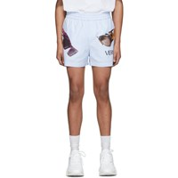 Versace Blue And White Striped Sunglasses Print Shorts