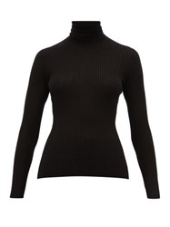 Gabriela Hearst Peppe Roll Neck Ribbed Cashmere Blend Sweater Black