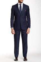 Nicole Miller Navy Plaid Two Button Notch Lapel Suit Blue