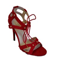 Qupid Ara High Heel Tie Up Sandal Red