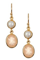 Argentovivo 18K Gold Plated Sterling Silver Freshwater Pearl And Peach Moonstone Dangle Earrings Metallic