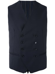 Tagliatore Klaus Double Breasted Waistcoat Men Cupro Virgin Wool 48 Blue
