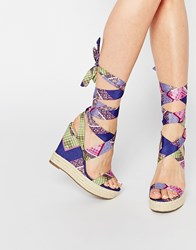 Asos Tornado Lace Up Wedges Multi Print