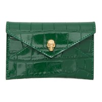 Alexander Mcqueen Green Croc Envelope Card Holder
