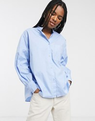 Monki Balloon Sleeve Shirt In Light Blue
