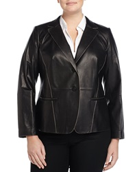 Lafayette 148 New York Leather Two Button Jacket Black