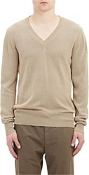 Tomas Maier Distressed Neck Knit Sweater Brown