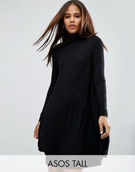 Asos Tall Swing Dress With Polo Neck And Long Sleeves Black