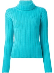 Dkny Thick Ribbed Role Neck Sweater Blue