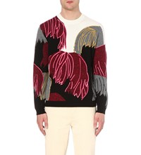 Kenzo Flower Intarsia Wool Blend Jumper White