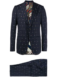 Gucci Embroidered Gg Suit Blue