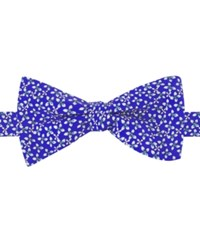 Tommy Hilfiger Men's Floral Print To Tie Bow Tie Royal Blue